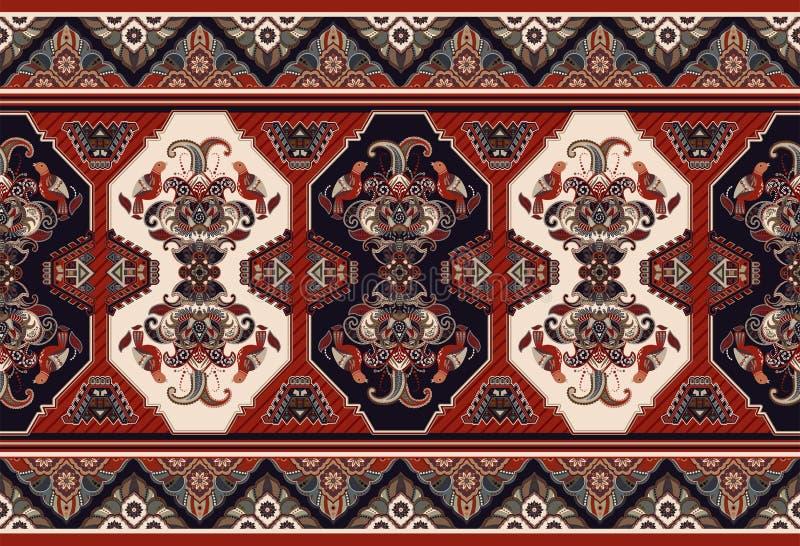 Красочный орнаментальный дизайн вектора для половика, ковра, tapis Безшовный орнаментальный ковер Геометрический флористический ф бесплатная иллюстрация