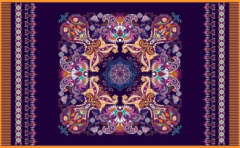 Красочный орнаментальный дизайн вектора для половика, ковра, tapis Персидский ковер, полотенце, ткань Геометрический флористическ бесплатная иллюстрация