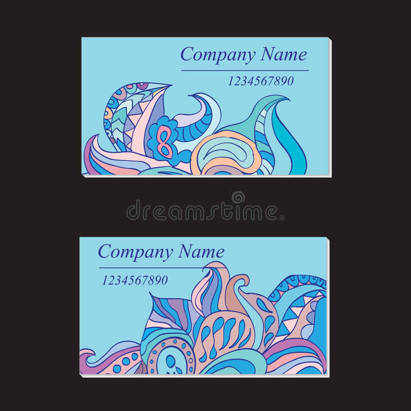 Красочный орнаментальный этнический комплект карточек Шаблоны с doodle бесплатная иллюстрация