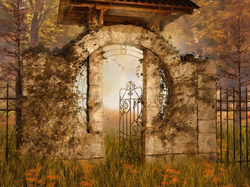 Красочный осенний сад иллюстрация вектора