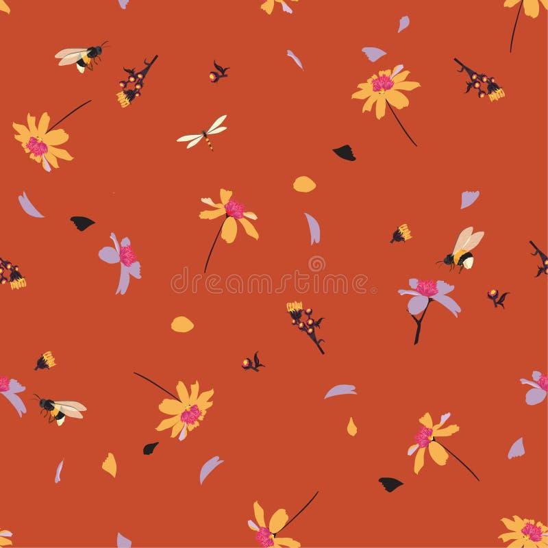 Красочный печати милой маргаритки флористической дуя в дизайне ветра с путайте картина в векторе для моды, ткань пчел безшовная иллюстрация штока