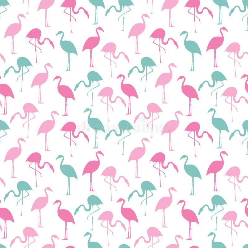 Красочный пинк и предпосылка фламинго бирюзы безшовная иллюстрация штока