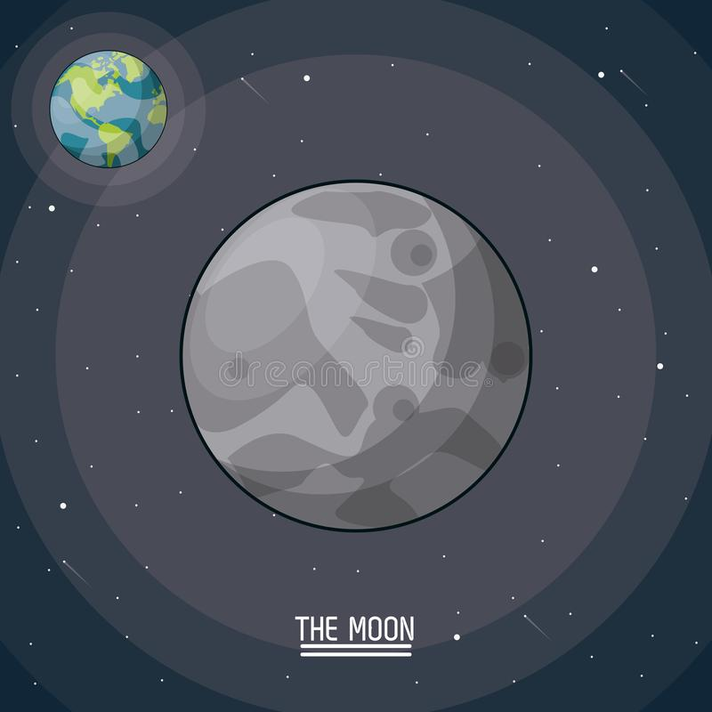 Красочный плакат луны в крупном плане с планетой зарывает на заднем плане иллюстрация вектора
