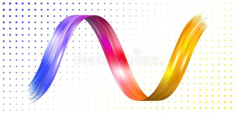Красочный плакат подачи Волнистая лента Реалистическая волна иллюстрация штока