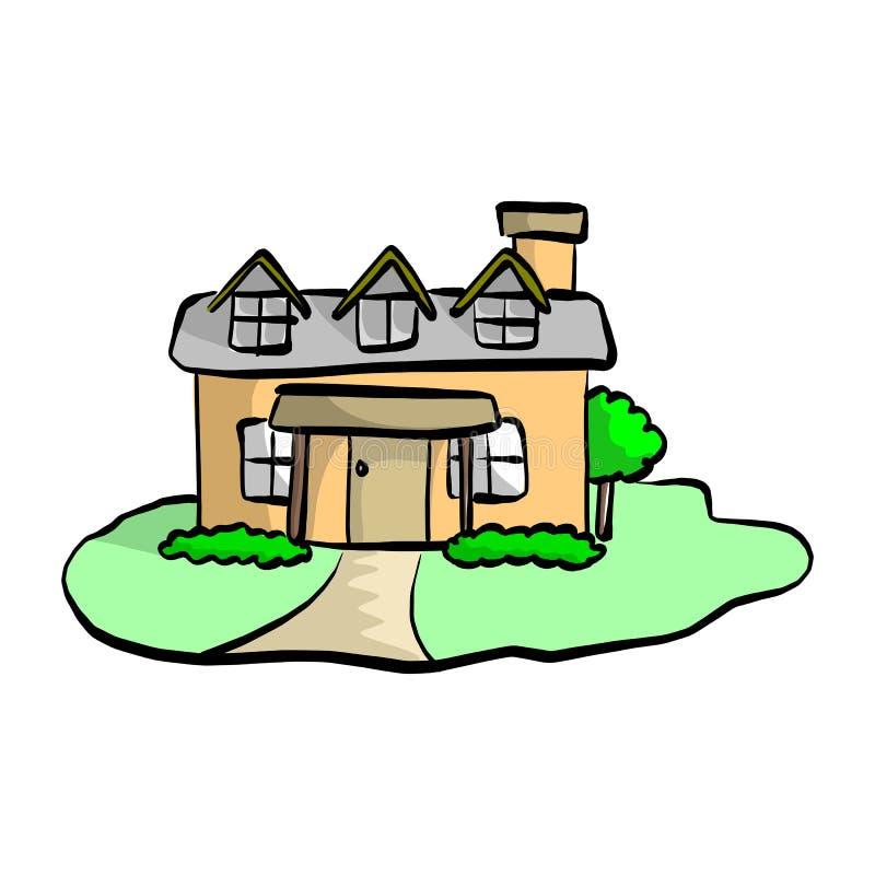Красочный плоский дом чертежа с sket иллюстрации вектора сада иллюстрация штока