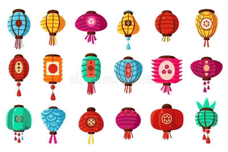 Красочный плоский набор фонариков бумаги улицы стиля мультфильма китайский Традиционное восточное украшение для торжества, праздн иллюстрация вектора