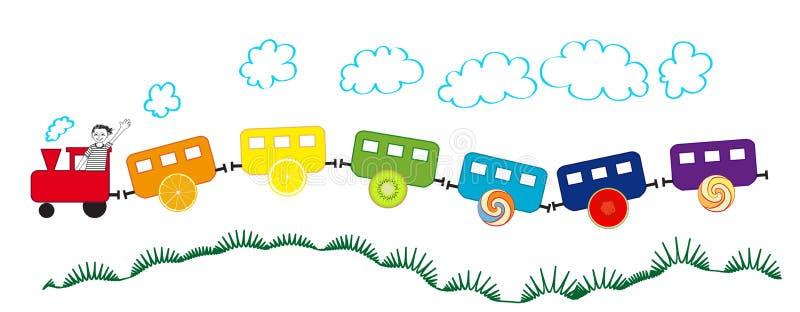 Красочный поезд с колесами плодоовощ иллюстрация вектора