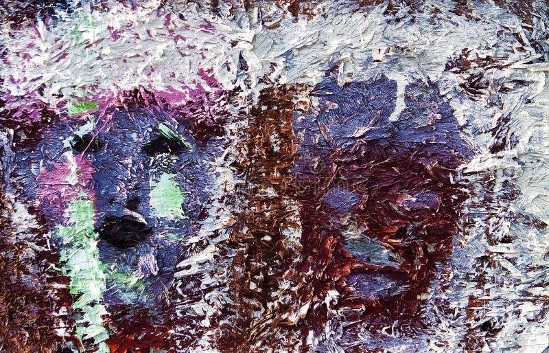 Красочный покрашенный текстурированный выдержанный конец древесины вверх стоковая фотография rf