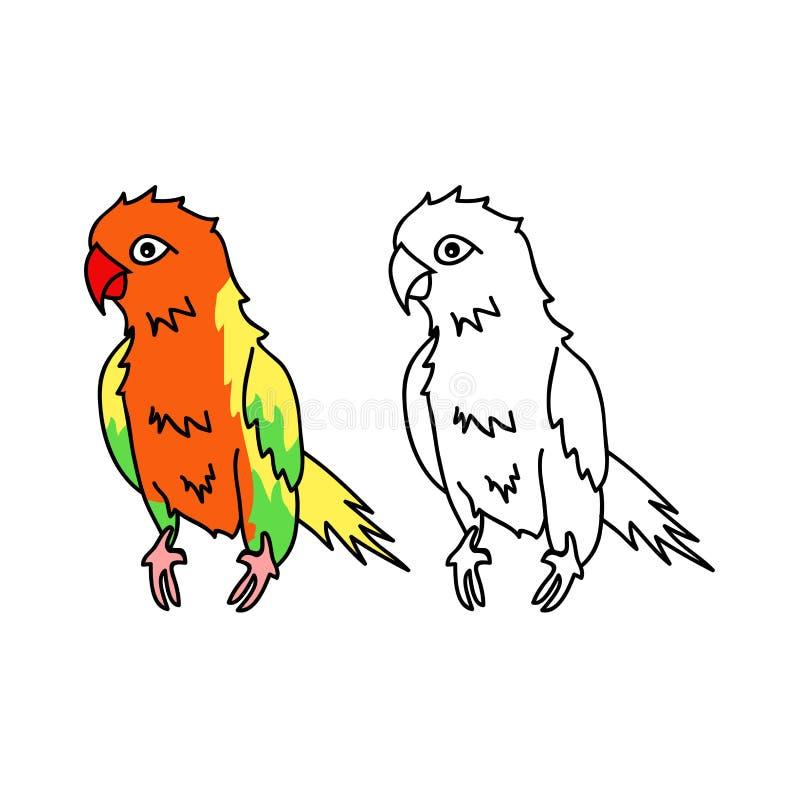 Красочный попугай изолированный на белой предпосылке также вектор иллюстрации притяжки corel бесплатная иллюстрация