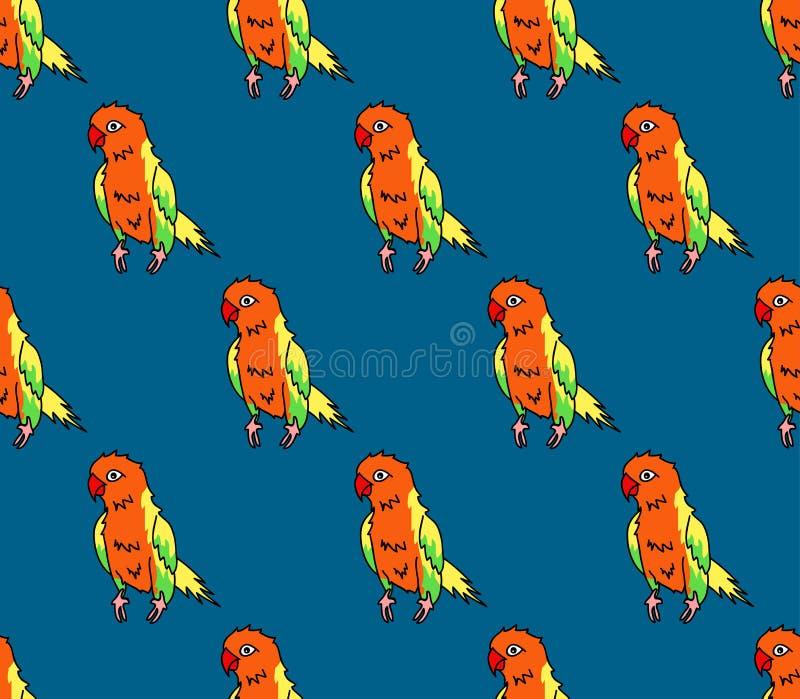 Красочный попугай на предпосылке сини индиго также вектор иллюстрации притяжки corel бесплатная иллюстрация