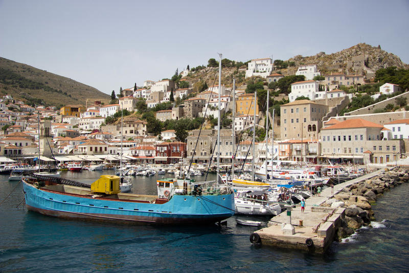 Красочный порт европейского острова стоковые изображения rf