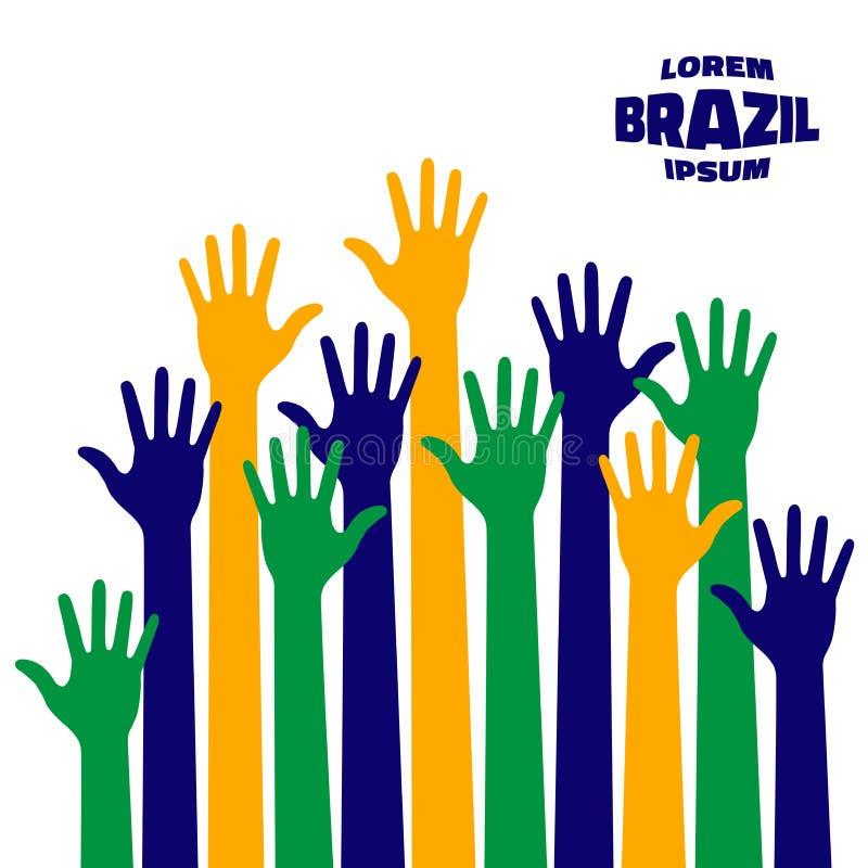 Красочный поднимающий вверх значок рук используя цвета флага Бразилии бесплатная иллюстрация
