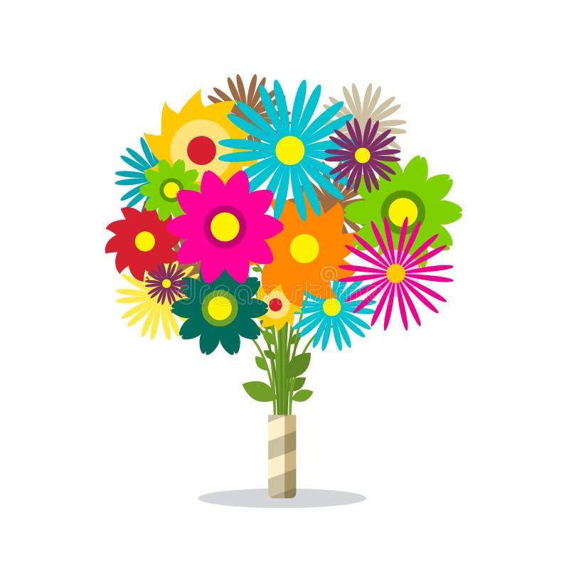 Красочный пук весны изолированных цветков иллюстрация штока