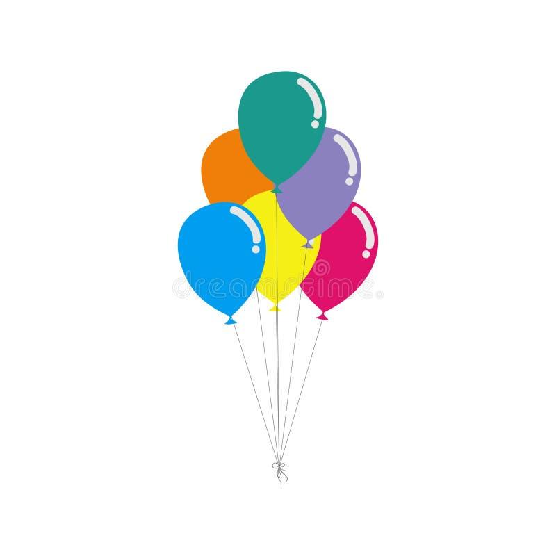Красочный пук воздушных шаров дня рождения летая для партии и торжеств с космосом для сообщения изолированного в белой предпосылк бесплатная иллюстрация