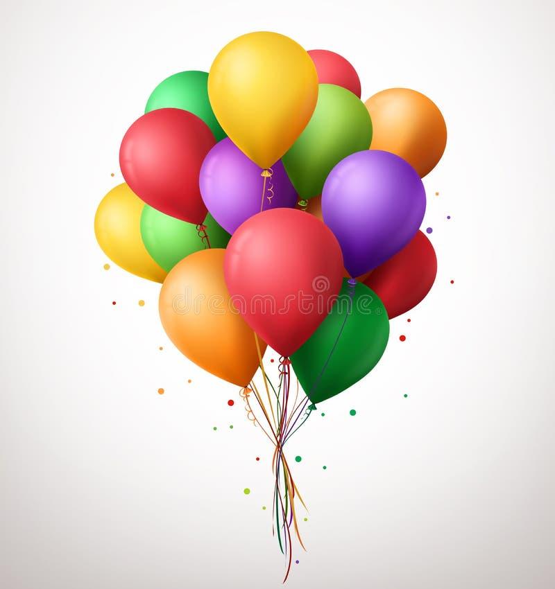 Красочный пук дня рождения раздувает летание для партии и торжеств бесплатная иллюстрация