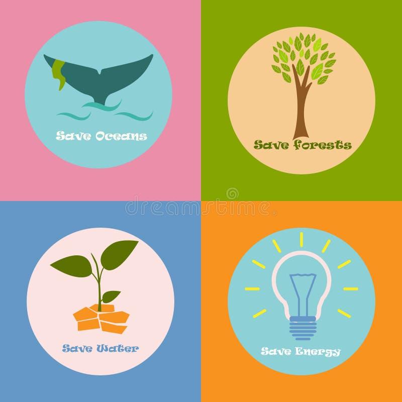Красочный плакат eco с различными зачатиями воды, энергии, океанов и лесов сбережений бесплатная иллюстрация