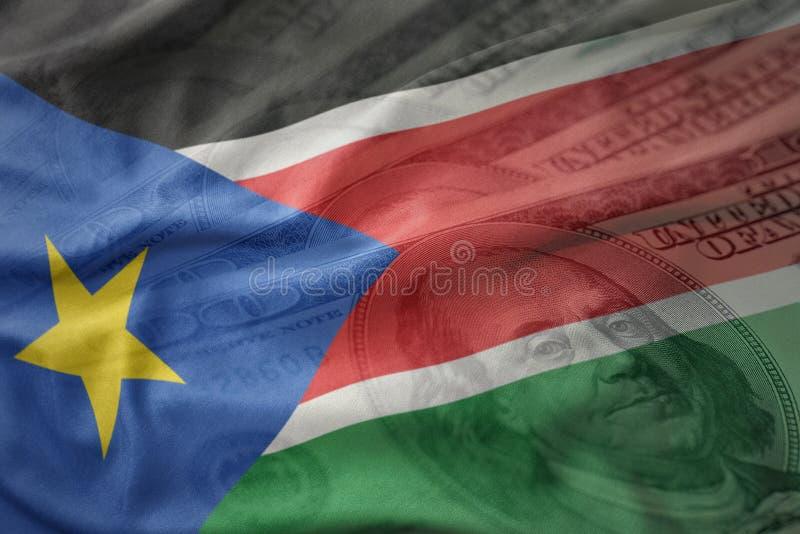 Красочный развевая национальный флаг южного Судана на американской предпосылке денег доллара стоковое изображение rf
