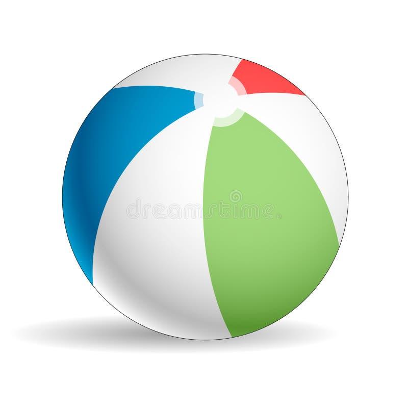 Красочный, реалистический шарик пляжа на белой предпосылке бесплатная иллюстрация