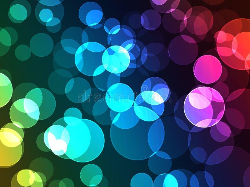 Красочный световой эффект точки Bokeh с Де-фокусом Glo иллюстрация штока