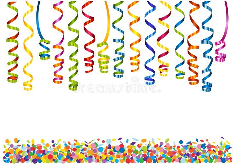 Красочный серпентин с confetti иллюстрация штока