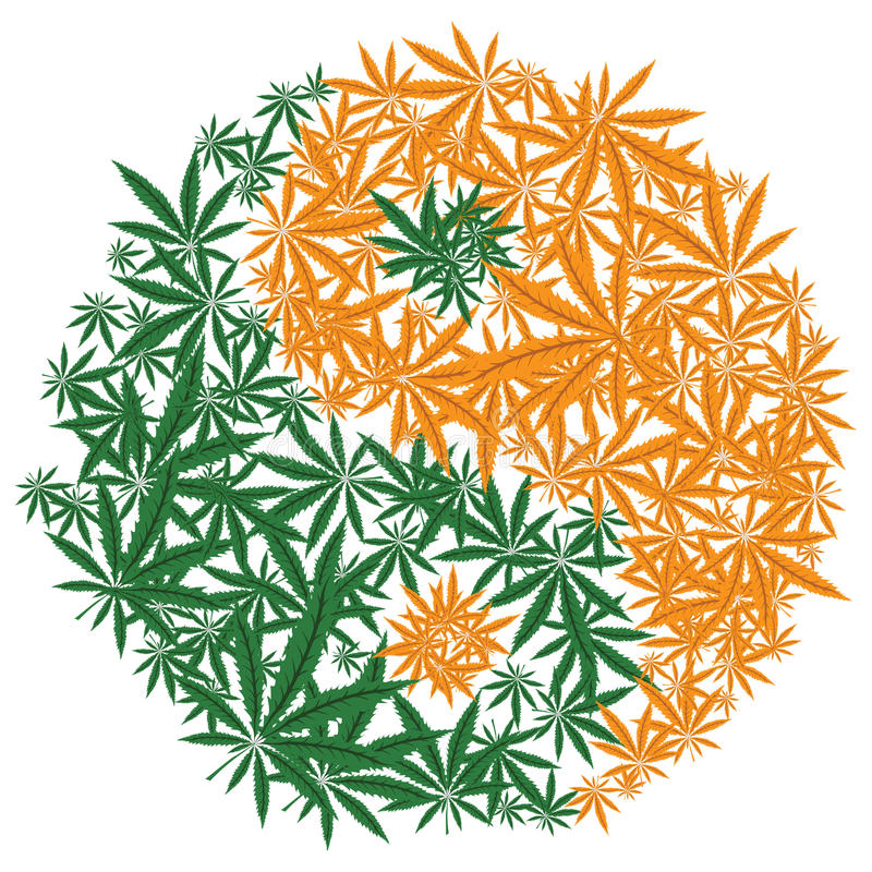 Красочный символ лист конопли Yin Yang дизайна марихуаны вектор бесплатная иллюстрация