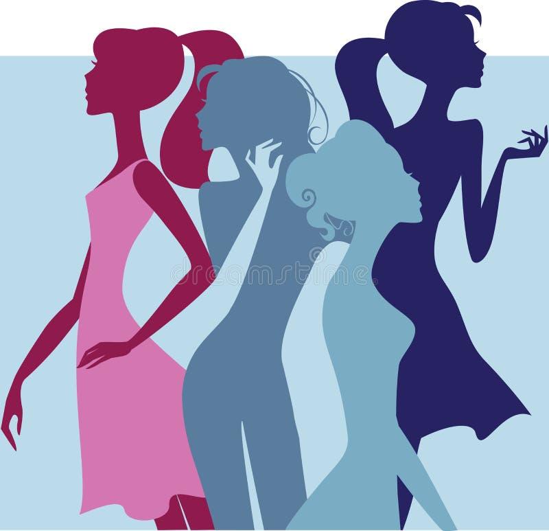 Красочный силуэт девушек моды иллюстрация штока