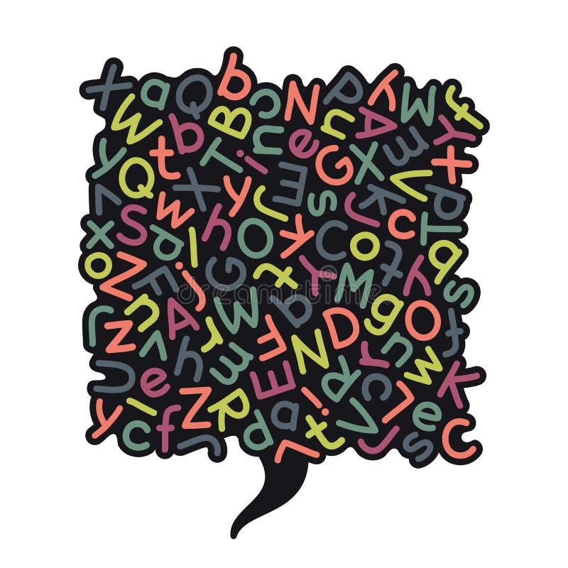 Красочный смешанный пузырь речи алфавита бесплатная иллюстрация