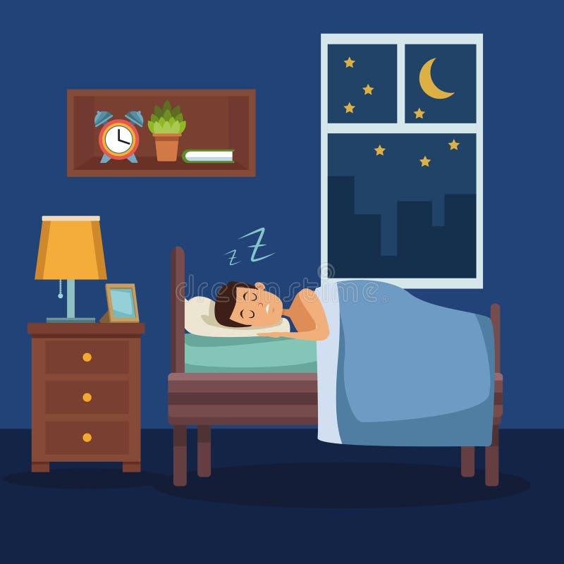 Красочный сон человека сцены с одеялом в спальне бесплатная иллюстрация