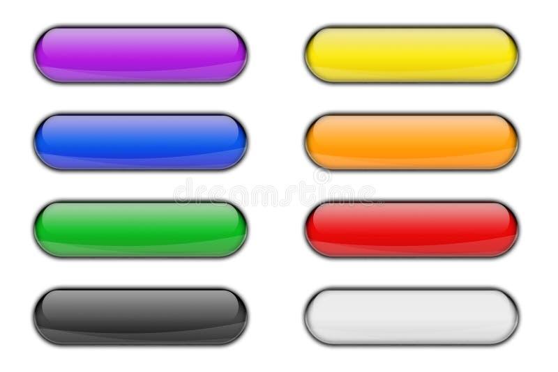 Красочный стеклянный лоснистый комплект кнопки значка сети иллюстрация штока
