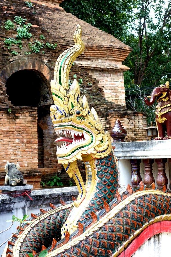 Красочный страшный дракон защищает буддийский висок стоковая фотография rf