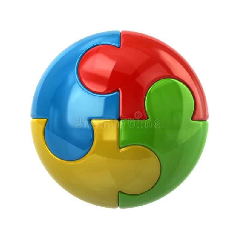 Красочный сферически значок головоломки иллюстрация штока