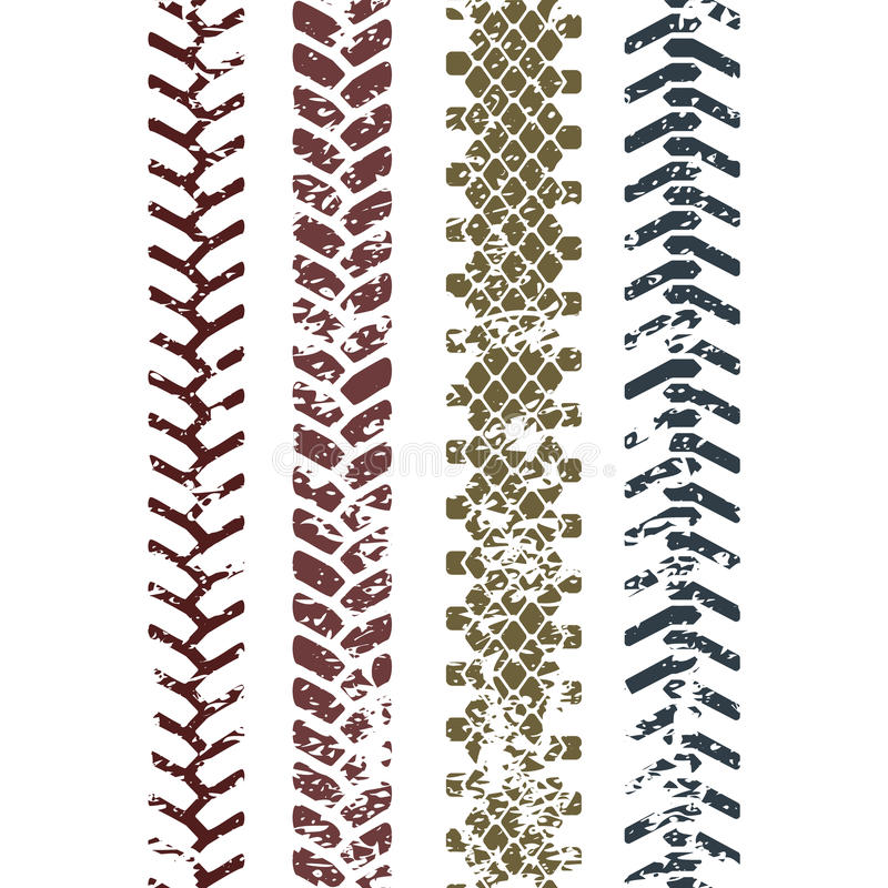 Красочный след протектора профиля шины на картине белого grunge безшовной, комплекте вектора иллюстрация штока