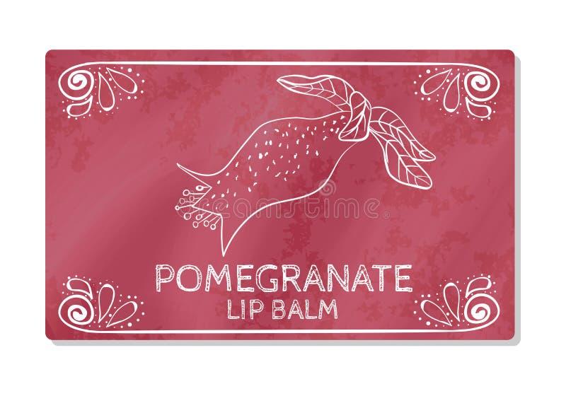 Красочный текстурированный ярлык, стикер для косметических продуктов Комплексное конструирование губной помады с вкусом гранатово иллюстрация штока
