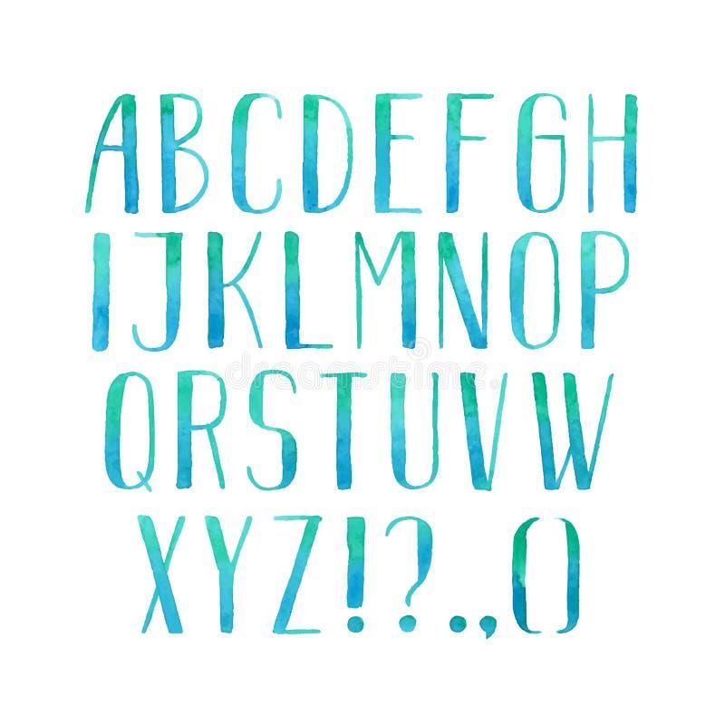 Красочный тип рукописные письма шрифта aquarelle акварели алфавита abc притяжки руки иллюстрация штока