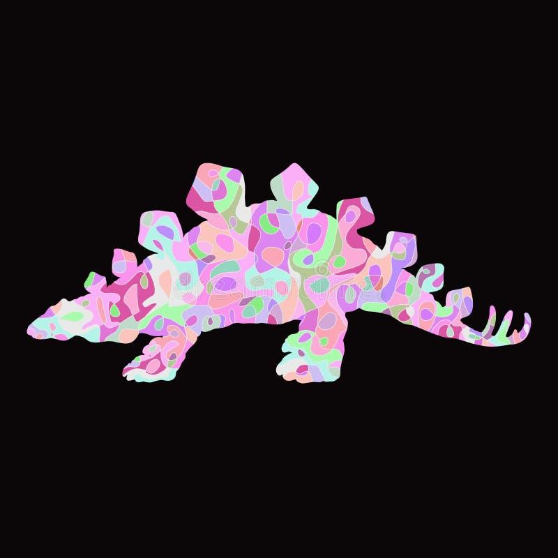 Красочный травоядный динозавр с затейливо абстрактным patte иллюстрация штока