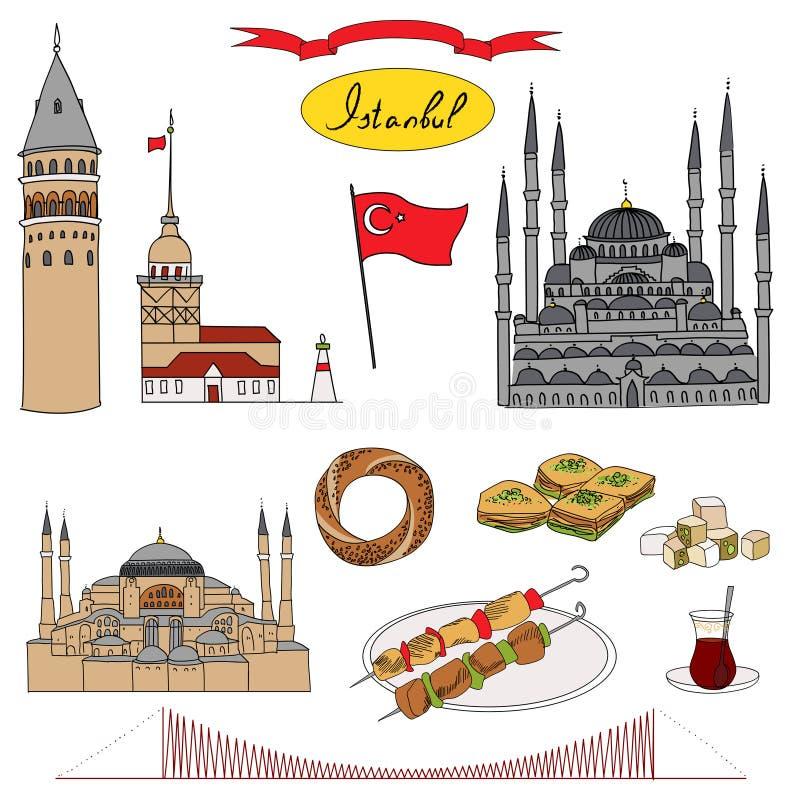 Красочный турист Стамбула изолировал комплект вектора объекта иллюстрация вектора