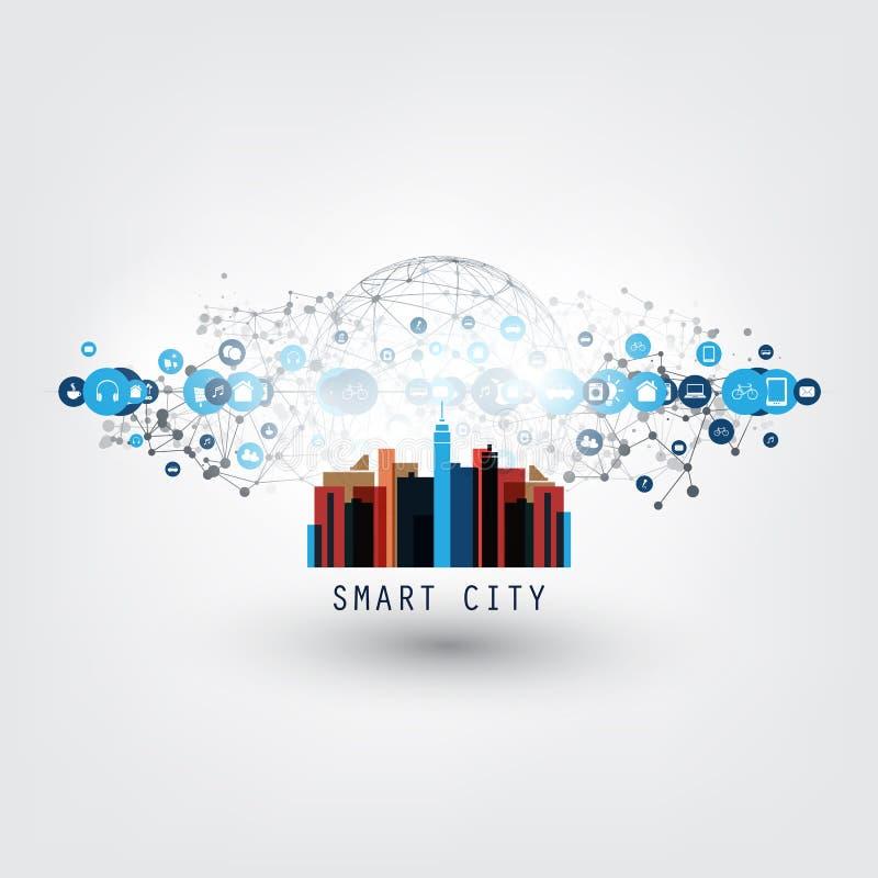 Красочный умный город, интернет вещей или идея проекта облака вычисляя с значками - сетевыми подключениями цифров бесплатная иллюстрация