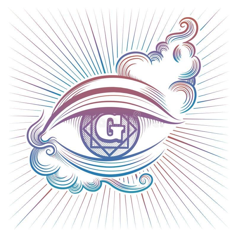 Красочный духовный дизайн глаза иллюстрация штока