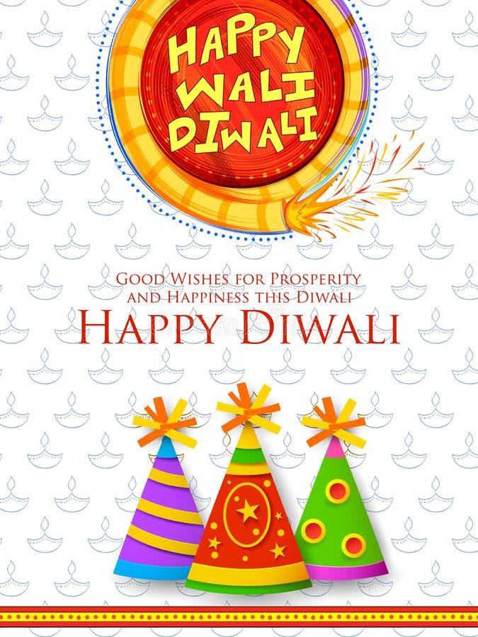 Красочный фейерверк на счастливой предпосылке праздника Diwali для светлого фестиваля Индии иллюстрация штока