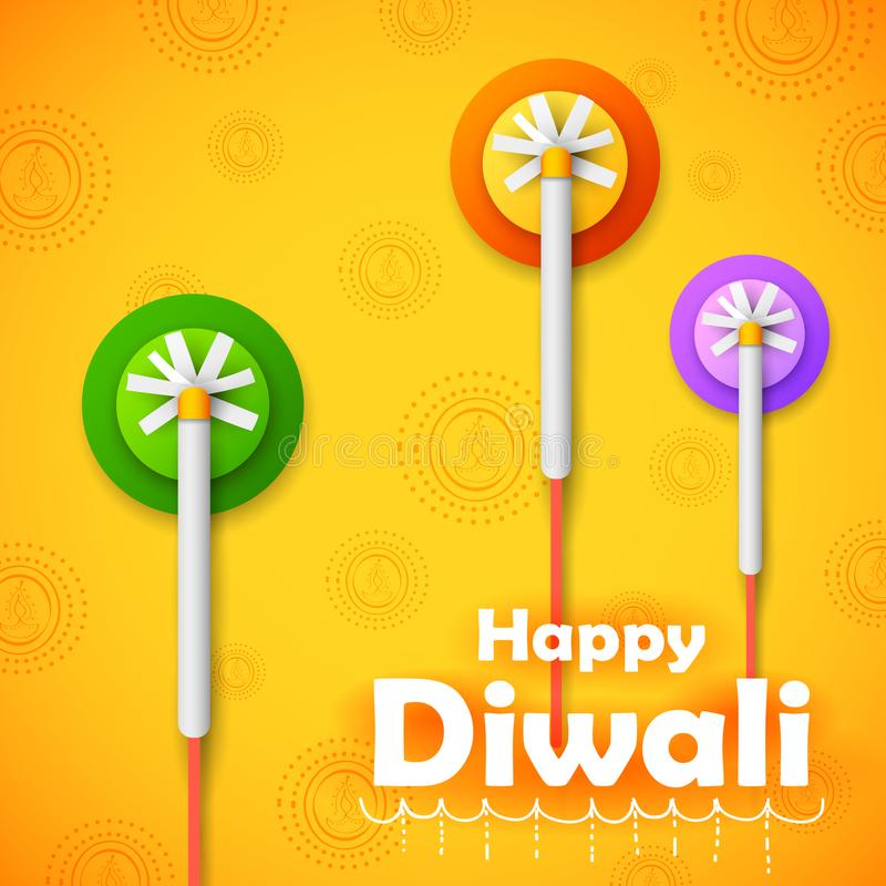 Красочный фейерверк на счастливой предпосылке праздника Diwali для светлого фестиваля Индии иллюстрация вектора