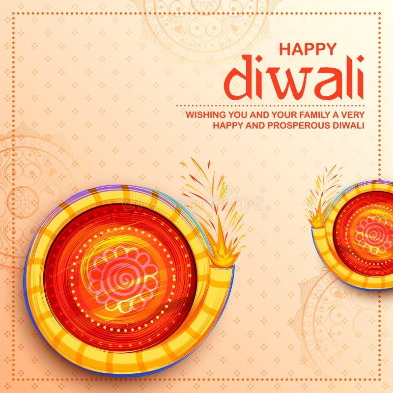 Красочный фейерверк на счастливой предпосылке праздника Diwali для светлого фестиваля Индии бесплатная иллюстрация