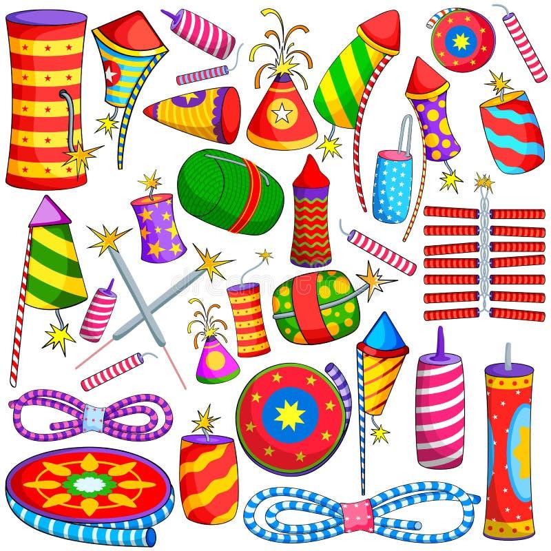 Красочный фейерверк для Diwali иллюстрация штока