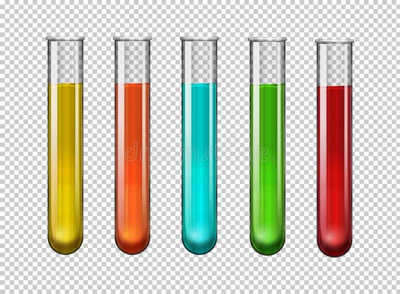Красочный химикат в пробирках иллюстрация штока