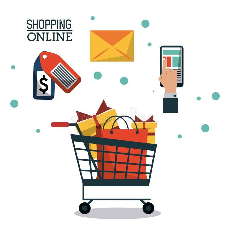 Красочный ходить по магазинам плаката онлайн с магазинной тележкаой вполне подарков бесплатная иллюстрация