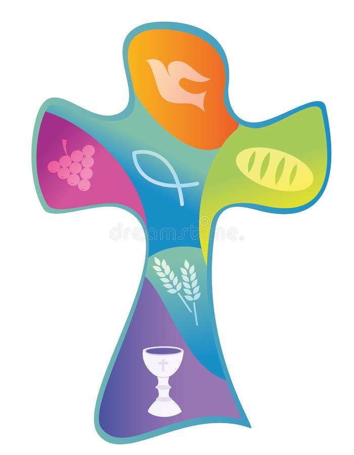Красочный христианский крест с виноградинами хлебом кубка и ухом пшеницы бесплатная иллюстрация