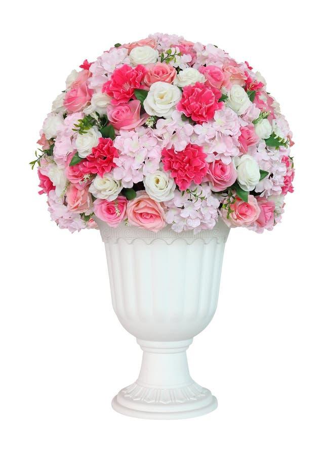 Красочный цветочный горшок в классической белой римской урне изолированной на белой предпосылке для украшения дома и цели дизайна стоковая фотография