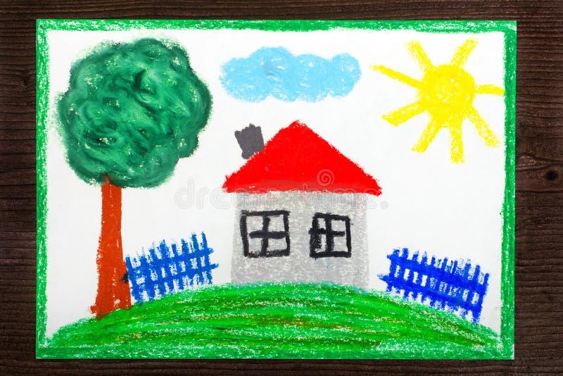 Красочный чертеж: Дом с красной крышей на холме иллюстрация вектора