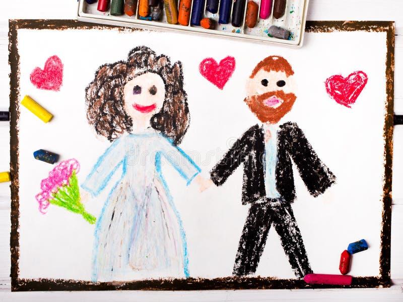 Красочный чертеж: день свадьбы иллюстрация штока