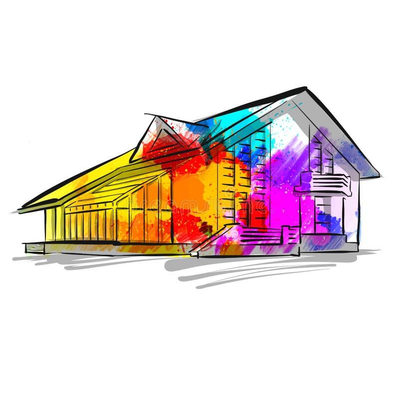 Красочный чертеж концепции дома иллюстрация вектора