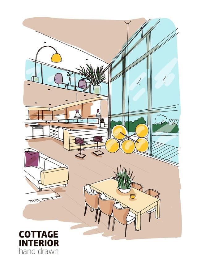 Красочный чертеж от руки современного коттеджа загородного дома или лета внутреннего вполне стильной мебели вычерченная рука иллюстрация штока